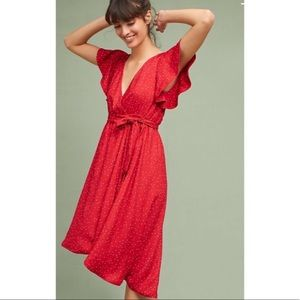 McGuire red polka dot dress with belt